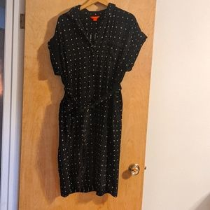 Black cotton shirt dress with sash